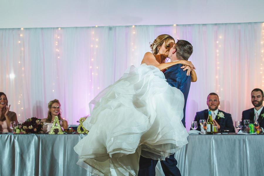 calgary summer wedding reception shots first dance blue suit groom