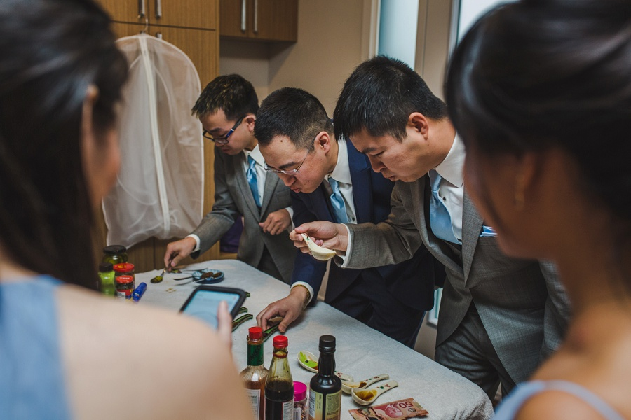calgary chinese wedding photographers door games food wasabi spicy