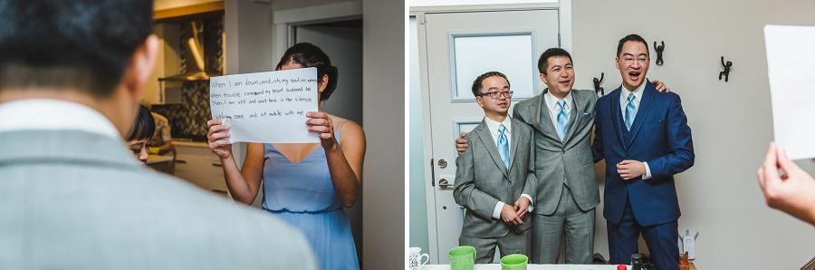 calgary chinese wedding photographers groom singing