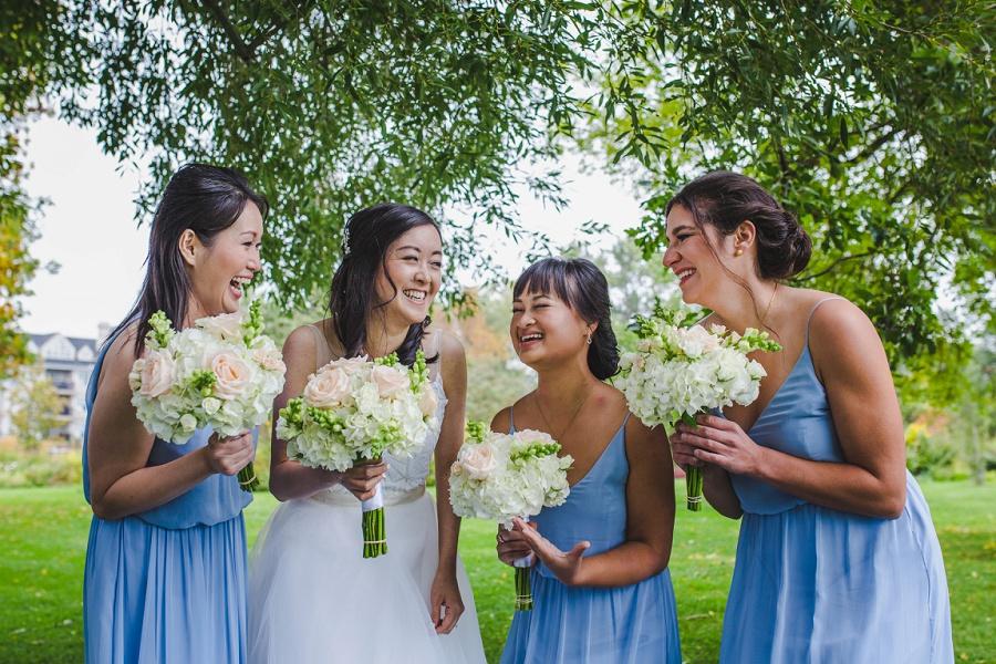 calgary chinese wedding photographers blue dress bridesmaids