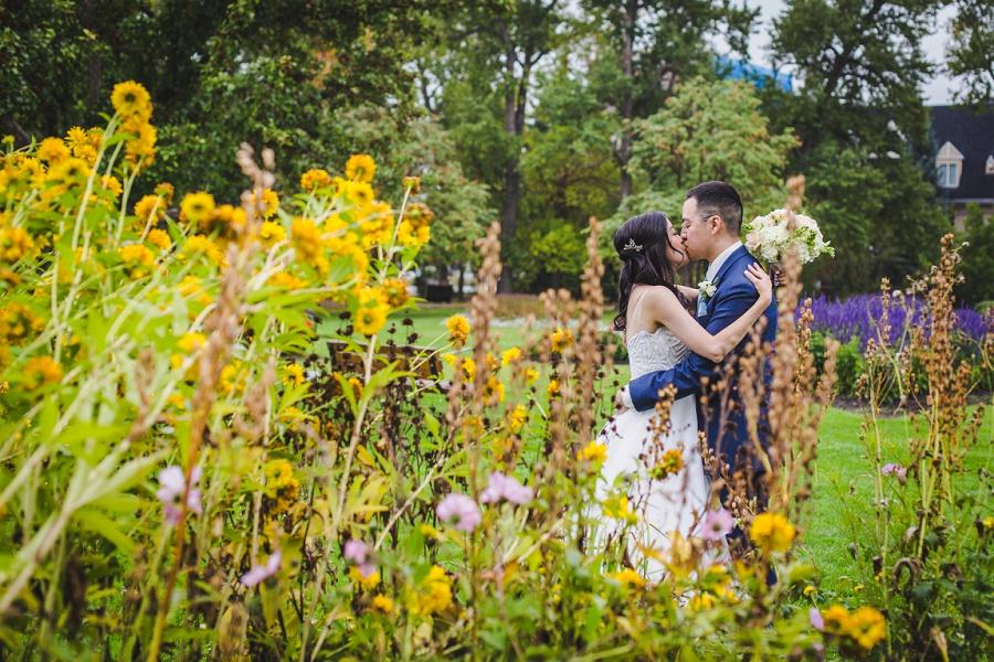 calgary chinese wedding photographers riley park yellow wildflowers
