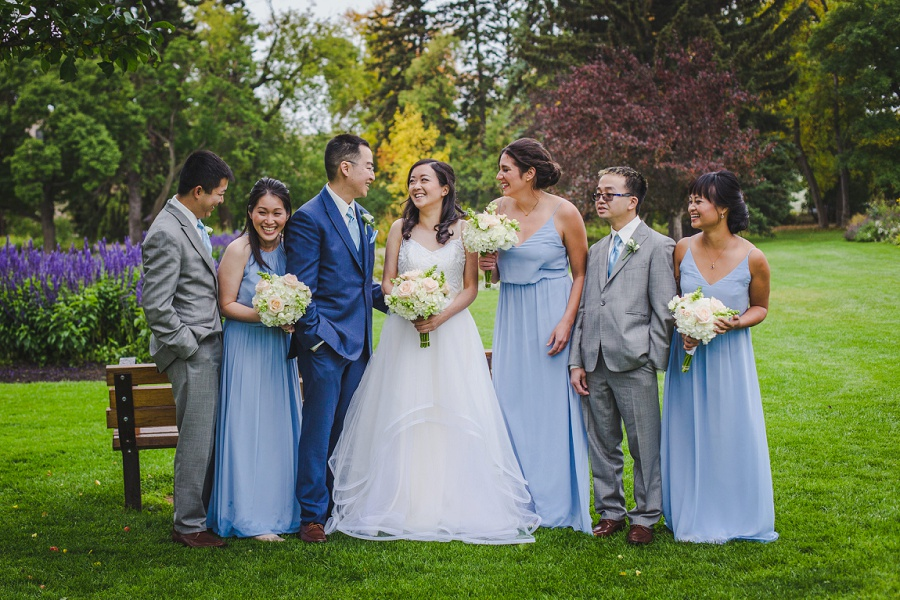 calgary chinese wedding photographers riley park bridal party blue suit blue bridesmaids