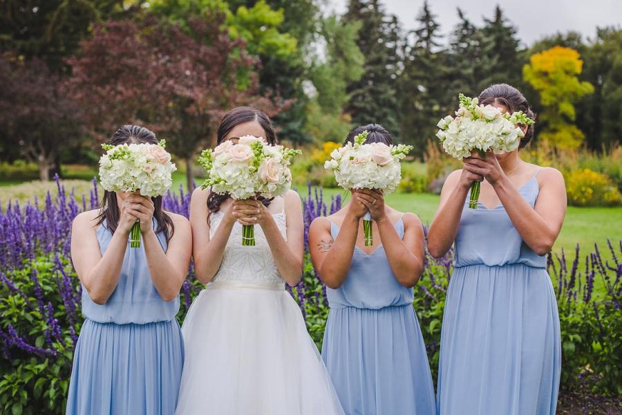 calgary chinese wedding photographers blue bridesmaid white blush bouquet