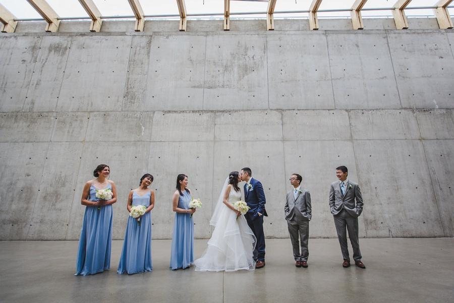 calgary chinese wedding photographers sait garage parking lot bridal party