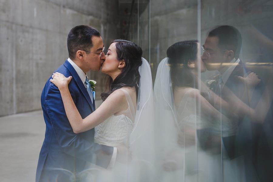 calgary chinese wedding photographers sait garage parking lot bride groom glass mirror