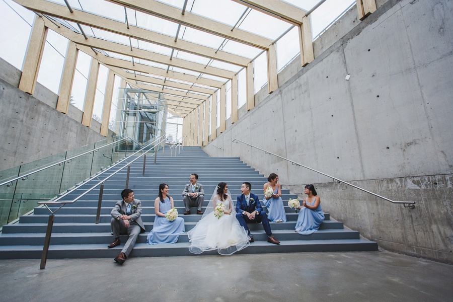 calgary chinese wedding photographers sait garage parking lot bridal party stairs