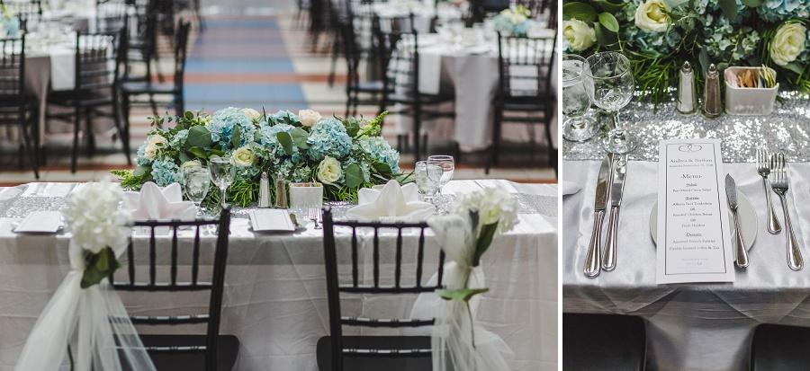 calgary chinese wedding photographers sait heritage hall reception decor blue hydrangea