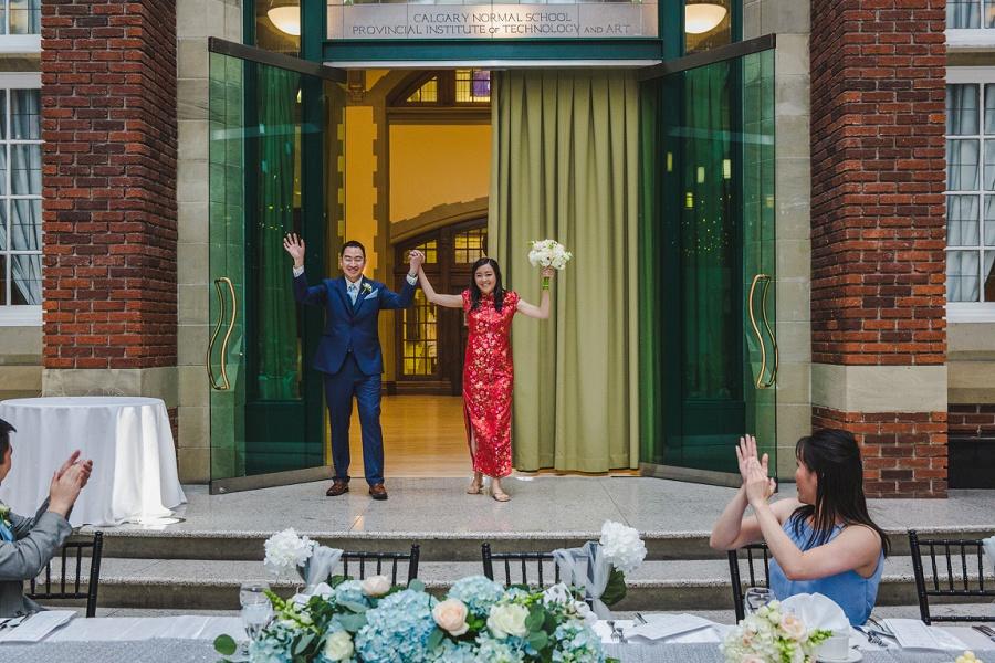 calgary chinese wedding photographers sait heritage hall red dress