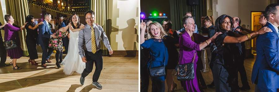 calgary chinese wedding photographers sait heritage hall conga line dancing