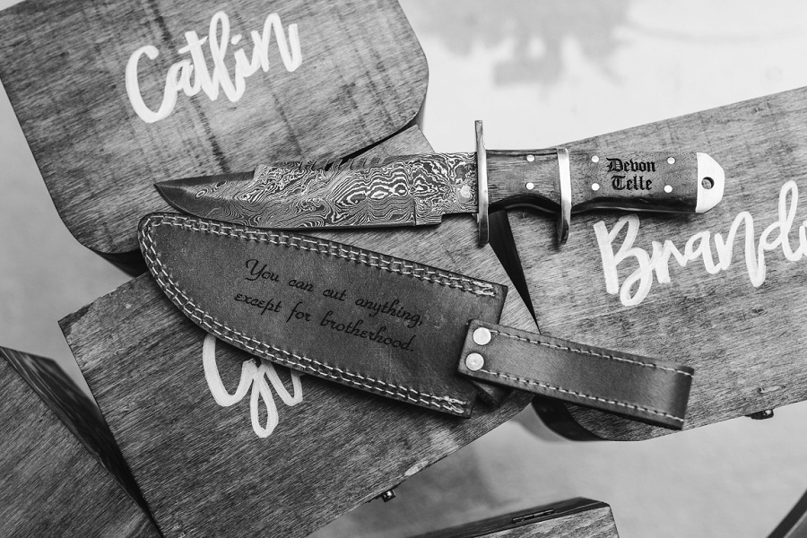 calgary wedding groom groomsmen favor gift knife