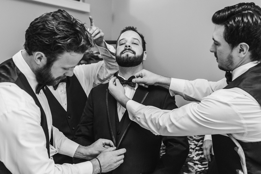 calgary groom groomsmen getting ready bowtie