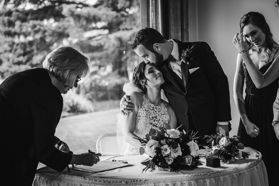 calgary pinebrook golf and country club wedding signing registrar