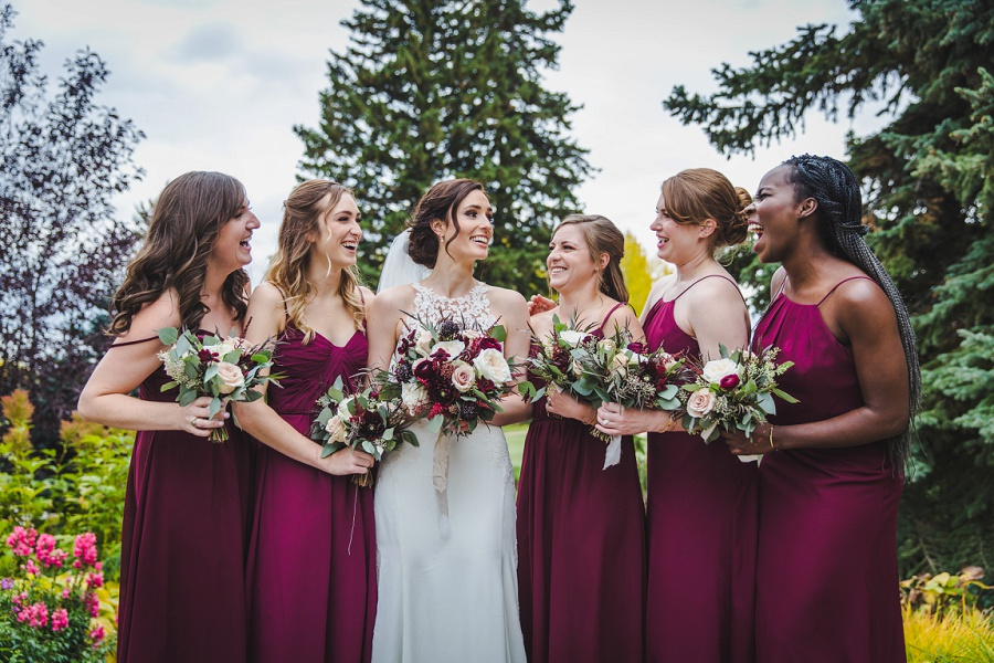 calgary pinebrook golf and country club wedding bridesmaids laughing fall