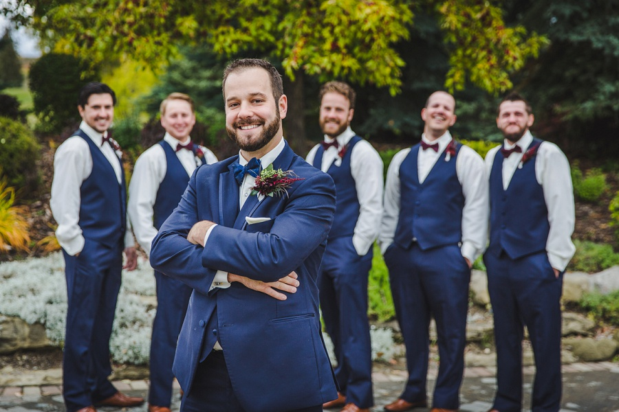 calgary pinebrook golf and country club wedding groom groomsmen blue suit