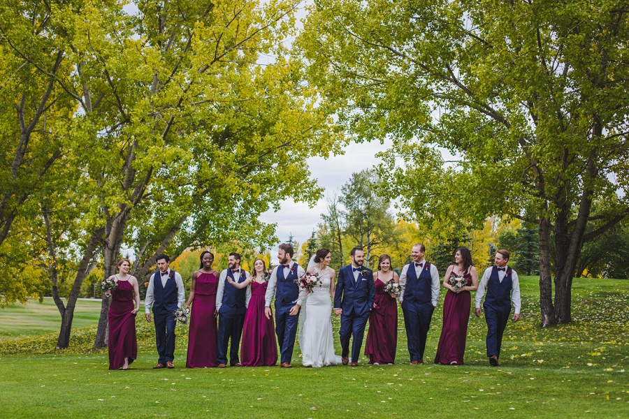 calgary pinebrook golf and country club wedding bridal party maroon bridesmaid dresses