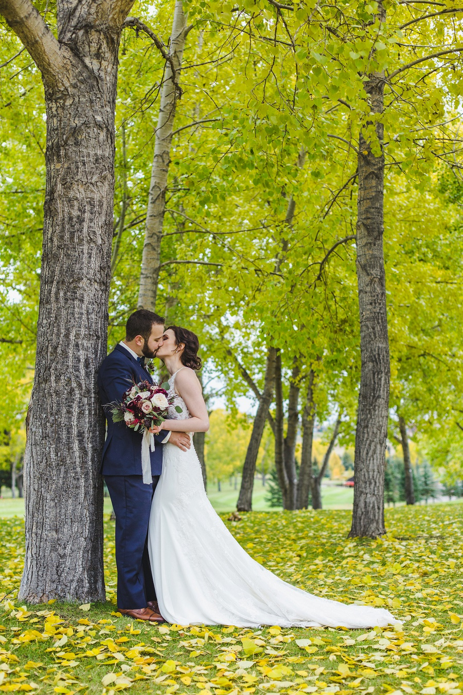 calgary pinebrook golf and country club wedding fall trees yellow leaves