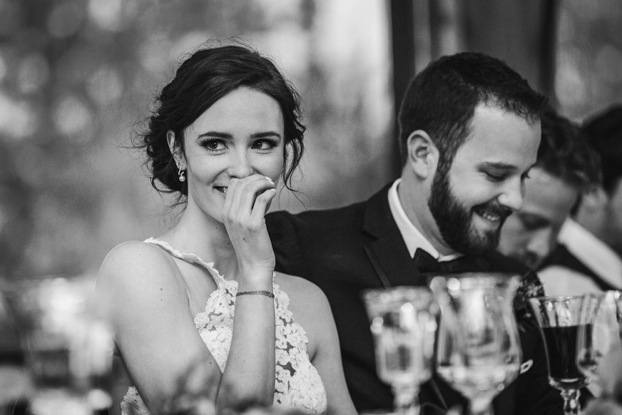 calgary pinebrook golf and country club wedding bride laughing speech
