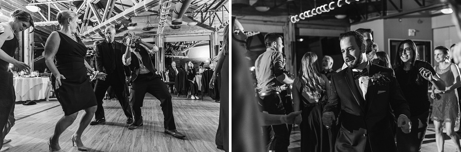calgary pinebrook golf and country club wedding guests dancing black and white