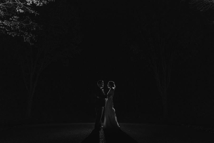 calgary pinebrook golf and country club wedding outdoor night photo black and white