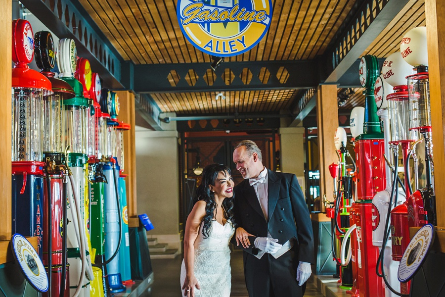 calgary heritage park gasoline alley themed wedding vintage bride groom founders lounge