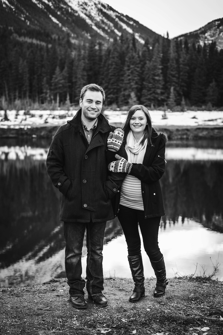 canmore winter engagement photos quarry lake emerald mountains